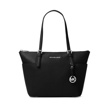 Michael Kors Jet Set Item East/ West Top Zip Tote Leather Black/ Silver Hardware