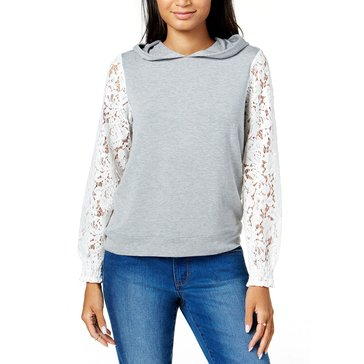 Maison Jules Women's Lace Sleeve Pullover Hoodie in Grey