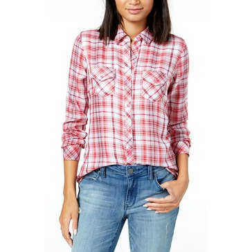 Maison Jules Women's Pink Plaid Woven Button Down Shirt in Petunia Pink
