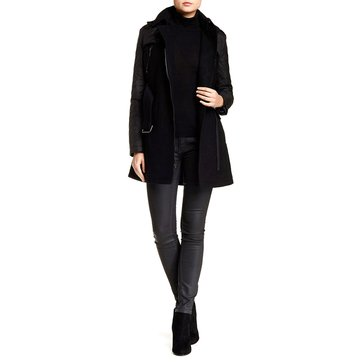 Kenneth Cole Women's Wool Mixed Media Coat