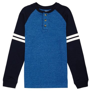 French Toast Toddler Boys' Raglan Henley Tee, Blue