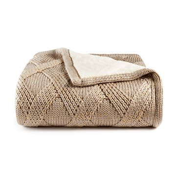 Martha Stewart Collection Sweaterknit Throw, Ivory