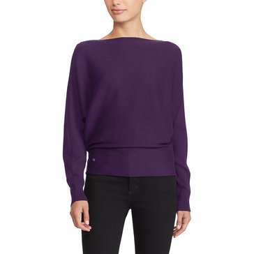 Lauren Ralph Lauren Alsah Long Sleeve Modal Sweater in Dark Mulberry