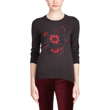 Lauren Ralph Lauren Embroidered Sweater Rashida in Dark Grey Multi