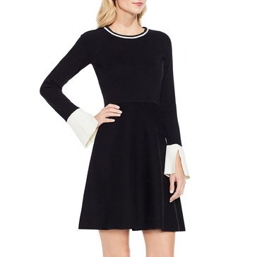 Vince Camuto Long Sleeve Split Cuff Flared Sweater Dress in Black
