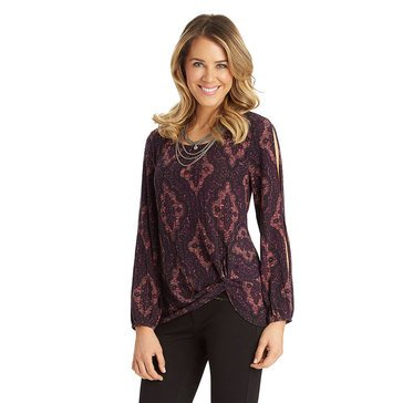 Democracy Printed Knit Top in Deep Magenta