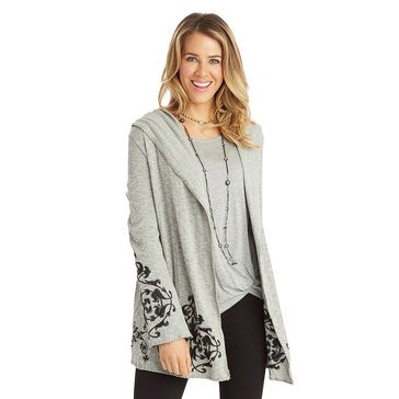 Democracy Embroidered Knit Hoodie Cardigan in Heather Grey