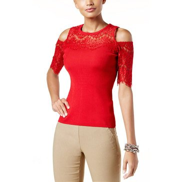 IINC International Concepts Lace Cold Shoulder Knit Sweater in Real Red