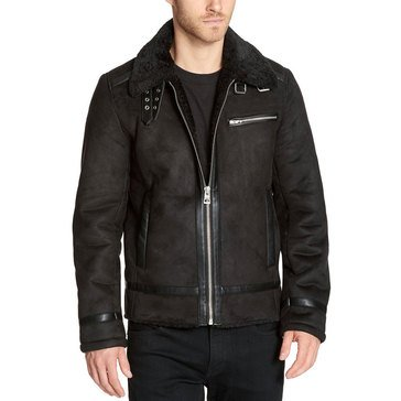 GUESS FAUX SHEARLING AVIATOR BLACK