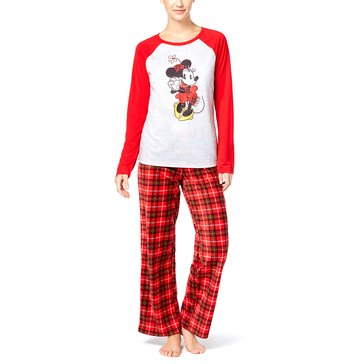 Briefly Stated Women's Family PJ Licensed Minnie Plaid