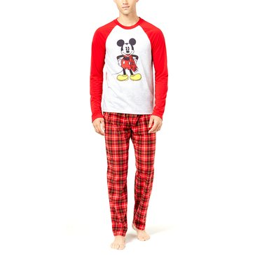 Briefly Stated Men's Family PJ Licensed Mickey Plaid