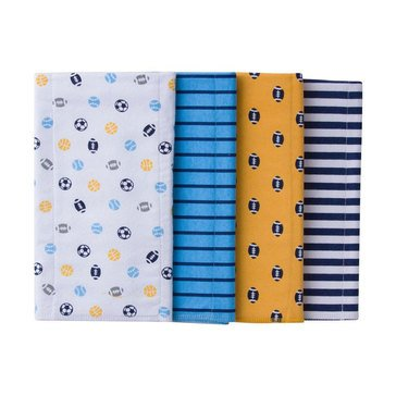 Gerber Baby Boys' 4-Pack Flannel Burp/Diaper Cloth, Sport