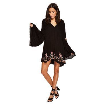 Free People Te Amo Mini Dress With Floral Embroidery in Black Combo