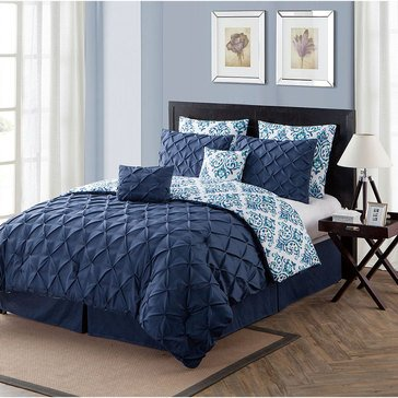 Heather Navy 8-Piece Comforter Set - Queen
