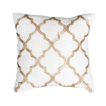 Thro Antique White Gold Brody Beaded Faux Silk 12 x 12 Pillow