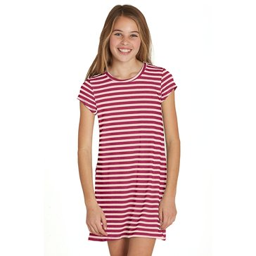 Billabong Big Girls' Stand Off Stripe Knit Dress, Raspberry