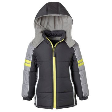 Ixtreme Big Boys' Colorblock Active Puffer Jacket, Charcoal