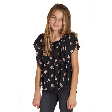 Billabong Big Girls' High Above Woven Flutter-Sleeve Top, Black
