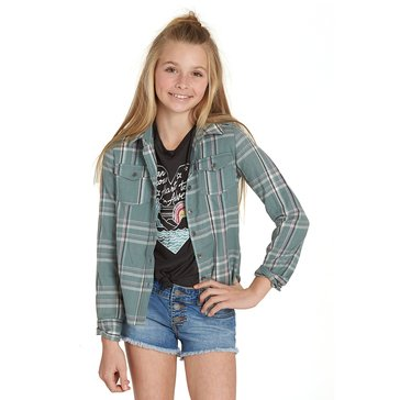 Billabong Big Girls' Cozy Up Plaid Top, Sugar Pine