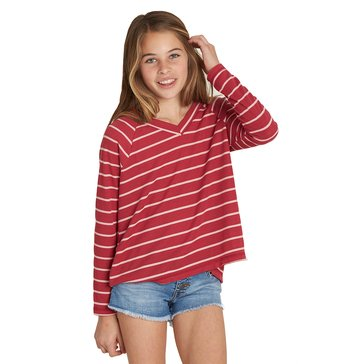 Billabong Big Girls' Ocean Tides Stripe V-Neck Thermal Top, Raspberry