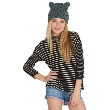 Billabong Big Girls' Main show Striped Hoodie Top, Black
