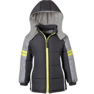 iXtreme Toddler Boys' Colorblock Puffer Coat, Charcoal