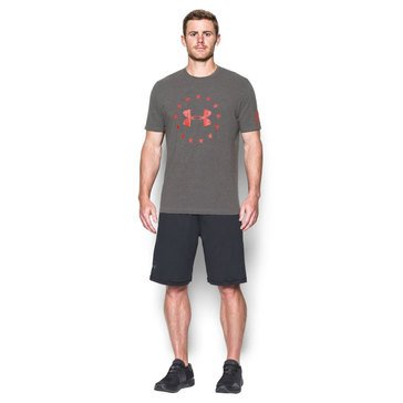 Under Armour Men's Freedom Logo Tee in Grey/Red