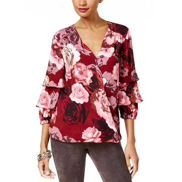 INC International Concepts Women's Floral Printed Ruffle Tuck Sleeve Top