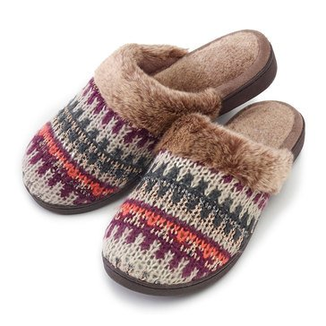 Totes Isotoner Cable Knit Clog Oatmeal Heather Fairisle