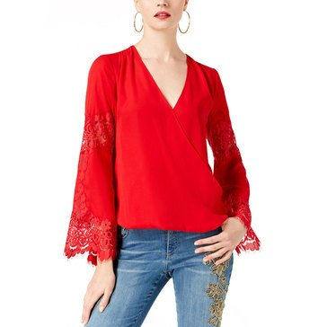 INC International Concepts Woven Lace Inset Surplice in Real Red