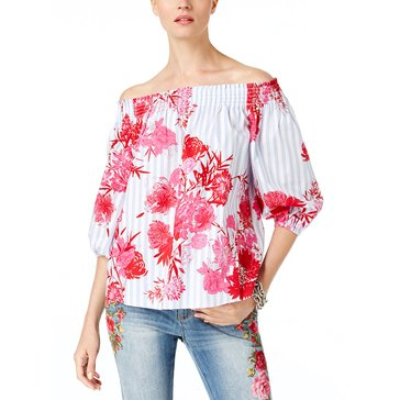 INC International Concepts Embroidered Chambray Stripe Off The Shoulder Woven Top