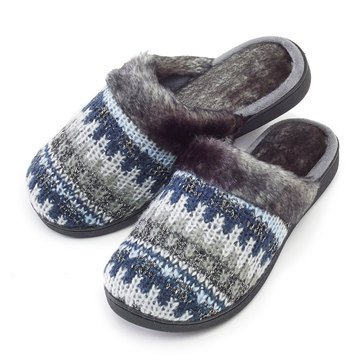 Totes Isotoner Cable Knit Clog Light Grey Heather Fairisle