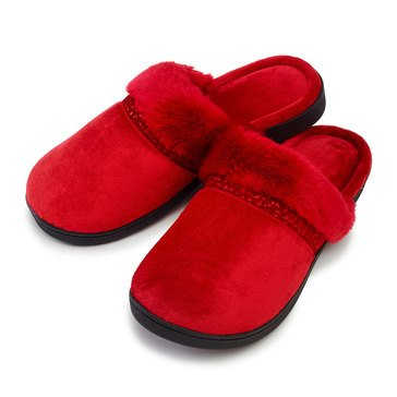 Totes Isotoner Velour Lily Clog Red