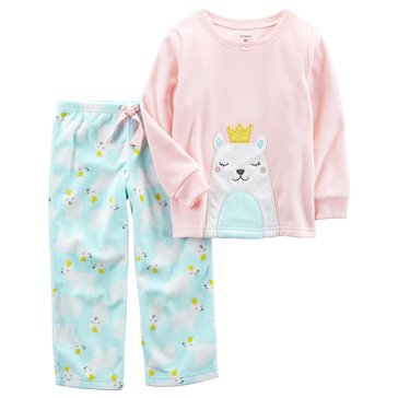 Carter's Baby Girls' 2-Piece Fleece Pajamas, Polar Bear