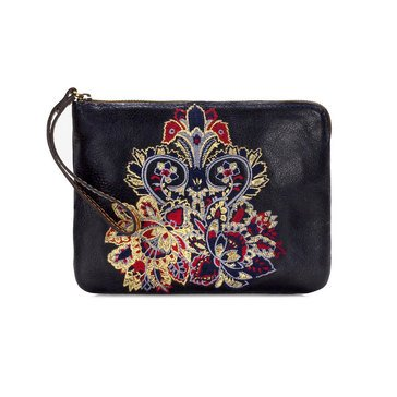 Patricia Nash Cassini Embroidered Wristlet Navy