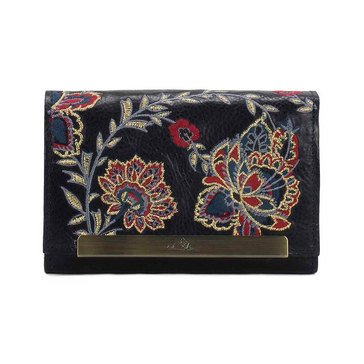 Patricia Nash Cametti Embroidered Wallet Navy