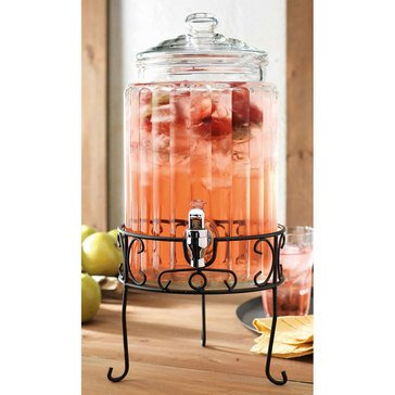 Home Essentials 1.5 Gallon Del Sol Clear Ribbed Beverage Dispenser