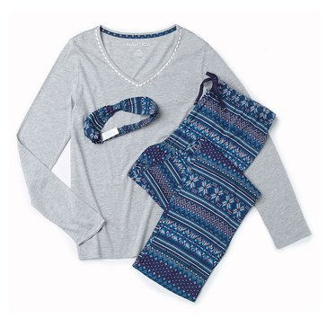 Nautica Folded Knit PJ Set V-Neck, Winter Fairisle