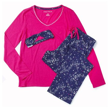 Nautica Folded Knit PJ Set V-Neck, Milky Way Stars