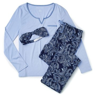 Nautica Folded Flannel PJ Set, Navy Paisley