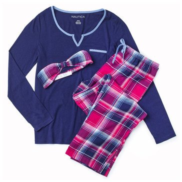 Nautica Folded Flannel PJ Set, Berry Plaid