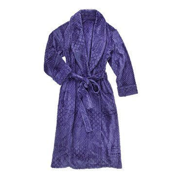 Nautica Plush Cable Textured Long Robe, Navy