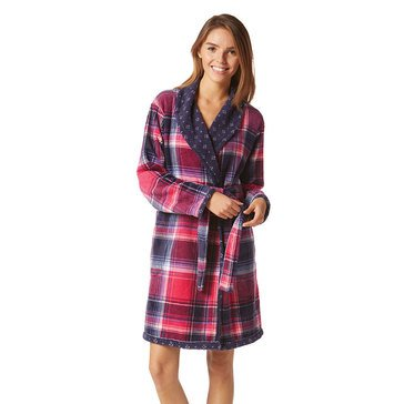 Nautica Double Printed Plush Short Robe, Plaid / Geo