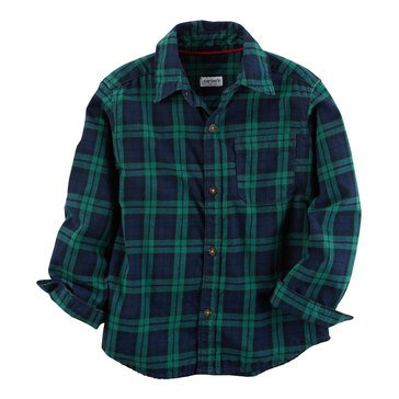 Carter's Toddler Boys' Plaid Woven Shirt, Green Black