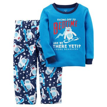 Carter's Little Boys' Fleece 2PC Pajamas Racing Off To Bedtime Yeti