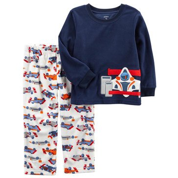 Carter's Little Boys' Fleece 2PC Pajamas Racecar Side Art