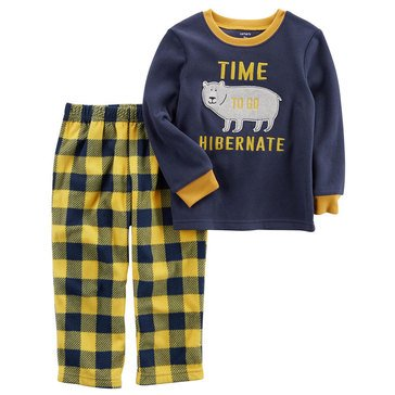 Carter's Little Boys' Fleece 2PC Pajamas, Boy Time To Go Hibernate Bear