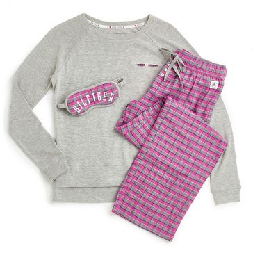 Tommy Hilfiger Three Piece PJ Set Pink Plaid