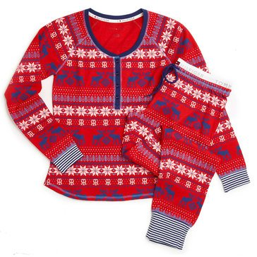 Tommy Hilfiger Two Piece PJ Set Red Fairisle