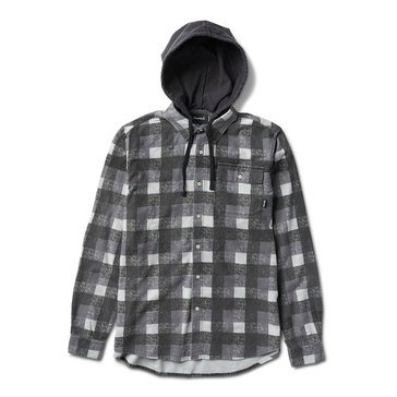 Diamond Supply Men's Hooded Plaid Flannel Shirt